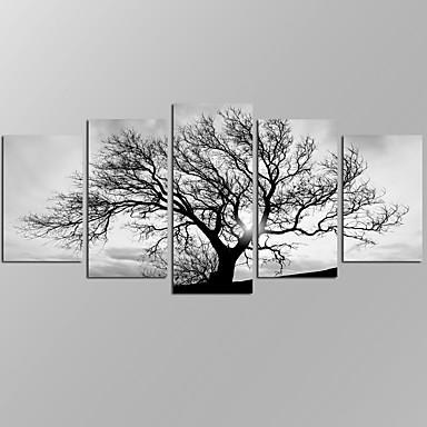 Paisajes Abstractos Modern,Cinco Paneles Lienzos Horizontal Estampado Decoración de pared For Decoración hogareña