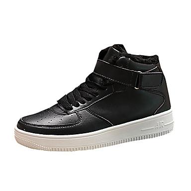 Herren Sneaker Komfort PU Herbst Winter Normal Komfort Flacher Absatz Weiß Schwarz Schwarz/weiss Flach