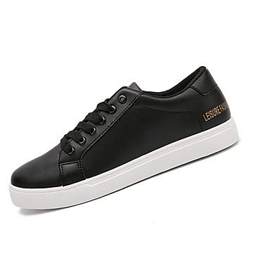 Herrn Schuhe PU Frühling Herbst Komfort Sneakers Schnürsenkel für Draussen Weiß Schwarz