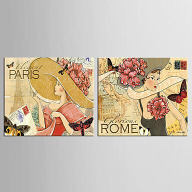 Canvas Set Sarjakuva Pop Classic European Style,2 paneeli Kanvas Pystysuora Tulosta Art Wall Decor For Kodinsisustus