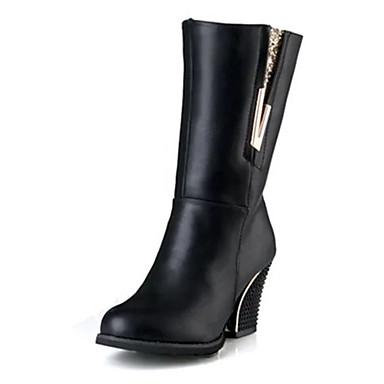 Damen-Stiefel-Lässig-PU-Niedriger Absatz-Komfort-Schwarz
