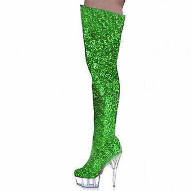 Damen-Stiefel-Outddor Kleid Party & Festivität-Kunststoff-Stöckelabsatz-Komfort Neuheit-Schwarz Blau Grün Lila Silber Gold Kaffee