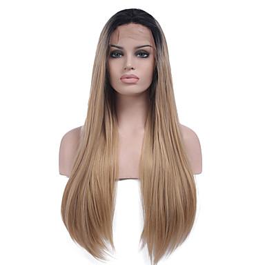 Synteettiset pitsireunan peruukit Suora Keskijakaus Luonnollinen hiusviiva Tummat juuret Liukuvärjätyt hiukset Musta Naisten Lace Front