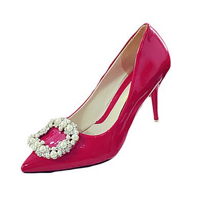 Damen High Heels Komfort PU Frühling Sommer Normal Komfort Strass Stöckelabsatz Schwarz Rot Rosa 7,5 - 9,5 cm