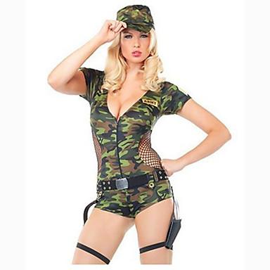 Γυναικεία Στρατιώτης / Πολεμιστής Κοστούμια καριέρας Φύλο Στολές Zentai Ολόσωμη εφαρμοστή στολή ήρωα Στολές Ηρώων Κοστούμι πάρτι Μονόχρωμο Φορμάκι / Ολόσωμη φόρμα Καπέλο / Στολή γάτας