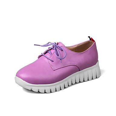 Mulheres Sapatos Couro Ecológico Primavera / Outono Conforto / Tira no Tornozelo Oxfords Ciclismo Sem Salto Ponta Redonda Cadarço /