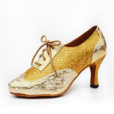 Mulheres Sapatos de Dança Latina / Sapatos de Jazz Glitter / Couro Salto Gliter com Brilho Salto Personalizado Personalizável Sapatos de