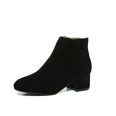 Damen-Stiefel-Lässig-PU-Niedriger Absatz-Komfort-Schwarz Kamel