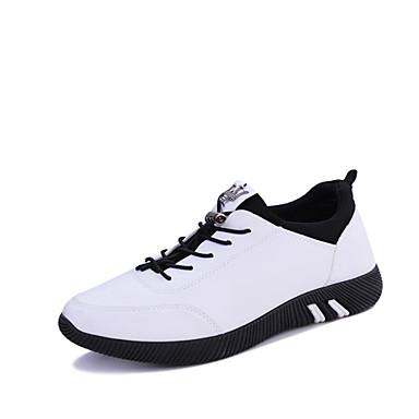 Herren-Sneaker-Outddor Lässig Sportlich-PU-Flacher Absatz-Komfort-Schwarz Weiß
