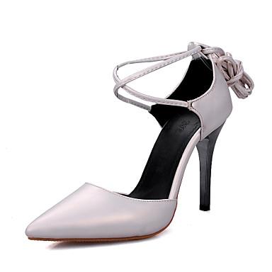 Damen-High Heels-Kleid-Kunstleder-Stöckelabsatz-Komfort-Rosa Weiß Grau