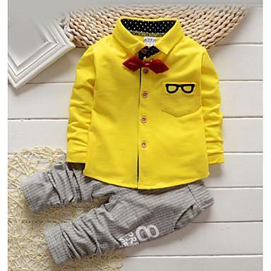 baratos Conjuntos para Meninos-Bébé Para Meninos Calças Básico Camisas Diário Sólido Listrado Estampado Manga Longa Padrão Algodão Conjunto Amarelo