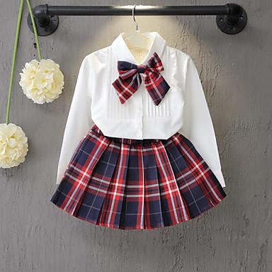זול תינוק & ילדים-סט של בגדים שרוול ארוך פפיון משובץ בית הספר פעיל בנות פעוטות