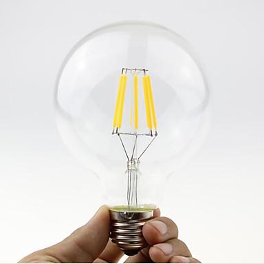 1pc 5.5W 600lm E26 / E27 B22 LED-glødepærer G95 6 LED perler COB Mulighet for demping Varm hvit 110-130V 220-240V