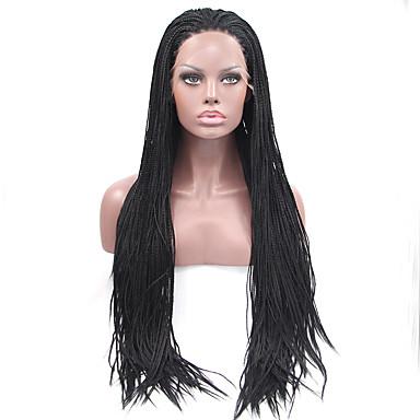 Χαμηλού Κόστους Συνθετικές περούκες με δαντέλα-Συνθετικές μπροστινές περούκες δαντέλας Ίσιο Στυλ Δαντέλα Μπροστά Περούκα Μαύρο Μαύρο Συνθετικά μαλλιά Γυναικεία Φυσική γραμμή των μαλλιών / Περούκα αφροαμερικανικό στυλ / Περούκα κοτσιδάκια Μαύρο