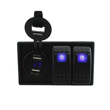 CC 12V / 24V LED azul llevado digital USB toma del adaptador voltímetro 4.2a con cables de puente basculante del interruptor de palanca y