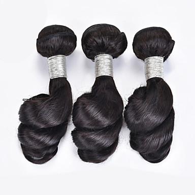 Φυσικά μαλλιά Βραζιλιάνικη Υφάνσεις ανθρώπινα μαλλιών Χαλαρά κυματιστά Προσθετική μαλλιών 3 Κομμάτια Μαύρο