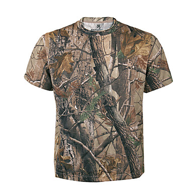 cheap Hunting & Nature-Men's Women's Unisex Camo / Camouflage Camouflage Hunting T-shirt Outdoor Sweat-wicking Tee / T-shirt Top Summer Cotton Terylene Short Sleeve Hunting