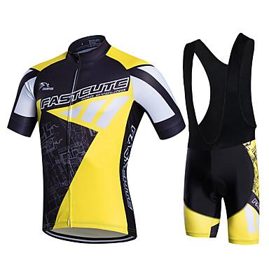 Fastcute Hombre Manga Corta Maillot de Ciclismo con Shorts Bib - Blanco Bicicleta Shorts/Malla corta Petos de deporte/Culotte con
