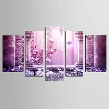 Paisagem Floral/Botânico Clássico Estilo Europeu, 5 Painéis Tela de pintura qualquer Forma Estampado Decoração de Parede Decoração para