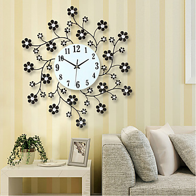 pastoral flower iron rhinestone living room bedroom watch clocks large decorative wall clock. Black Bedroom Furniture Sets. Home Design Ideas