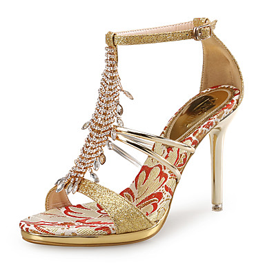 cheap Wedding Shoes-Women's Shoes Glitter / PU(Polyurethane) Club Shoes Sandals Stiletto Heel Rhinestone Gold / Silver / Wedding / Party & Evening