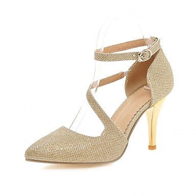 cheap Women's Heels-Women's Shoes Synthetic / Leatherette / PU(Polyurethane) Spring / Summer Comfort / Novelty / Slingback Heels Walking Shoes Stiletto Heel Pointed Toe Gold / Silver / Wedding / Party & Evening / Dress
