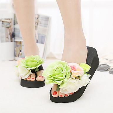 Feminino Sapatos Algodão Verão Chinelos e flip-flops Anabela Plataforma Flor Para Casual Amarelo Verde Azul Rosa claro Verde Escuro