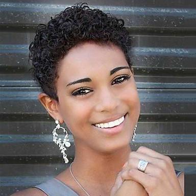 Perucas de cabelo capless do cabelo humano Cabelo Humano Encaracolado Corte Pixie Peruca Afro Americanas Curto Fabrico à Máquina Peruca