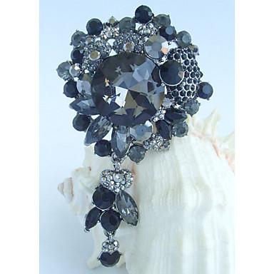 γυναικεία αξεσουάρ μαύρο γκρι στρας κρύσταλλο κουνάμε λουλούδι καρφίτσα deco τέχνης καρφίτσα γυναίκες μπουκέτο κοσμήματα