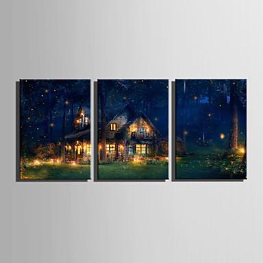 Landskap Moderne Europeisk Stil, Tre Paneler Lerret Lodrett Trykk