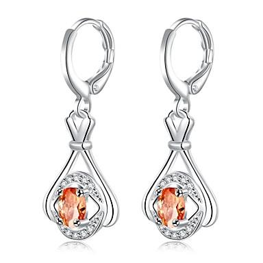 Mulheres Cristal / Zircônia cúbica Brincos Compridos - Cristal, Zircão, Prata Chapeada Prata Para Diário / Casual