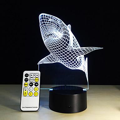 1 pieza Luz nocturna 3D Control remoto Visión nocturna Tamaño Pequeño Color variable Artístico LED Moderno / Contemporáneo