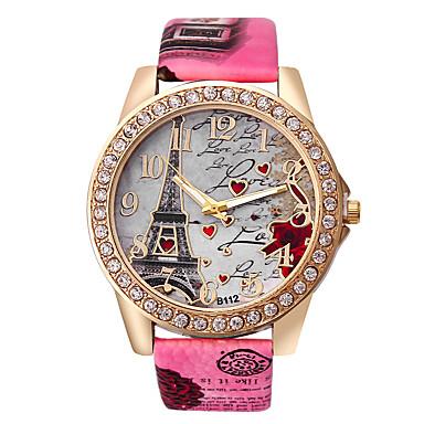 Dame Quartz Armbåndsur Rhinstein Imitasjon Diamant PU Band Heart Shape Eiffeltårnet Mote Hvit Blå Rød Brun Grå Rose