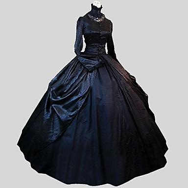 Prinsessa Gothic Lolita Satiini Party Prom Naisten Mekot Cosplay Musta Tanssiaismekko Runoilija Pitkähihainen Nilkkapituinen Pluskoko Räätälöidyt Puvut