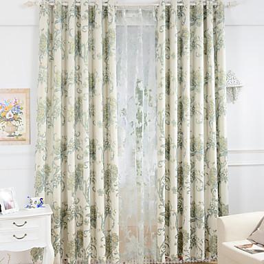 Stanglomme Propp Topp Fane Top Dobbelt Plissert Blyant Plissert To paneler Window Treatment Europeisk, Mønstret Blomsternål i krystall