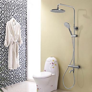 Moderne Duschsystem Regendusche Handdusche inklusive Thermostatische Elektromagnetventil Zwei Griffe Drei Löcher Chrom, Duscharmaturen