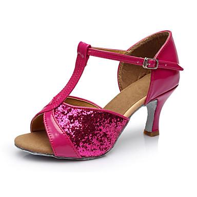 baratos Shall We® Sapatos de Dança-Mulheres Sapatos de Dança Cetim Sapatos de Dança Latina / Sapatos de Salsa Presilha Sandália Salto Personalizado Personalizável Preto / Prateado / Marrom / Interior