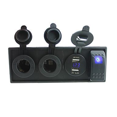 DC 12V / 24V LED Power voltmeter 4.2a usb port stikkontakter med vippebryteren jumper ledninger og boliger holder