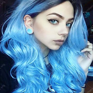 الاصطناعية الباروكات مموج شعر مستعار صناعي شعر Ombre بأطياف الألوان أزرق شعر مستعار نسائي دون غطاء أزرق