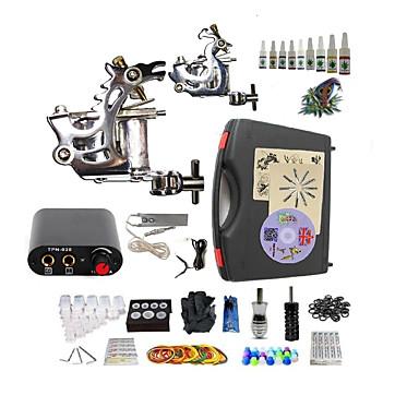 BaseKey Tattoo Machine Startkit, 2 pcs tattoo maskiner med 10 x 5 ml tatovering blekk - 2 x stål tatoveringsmaskin til lining og