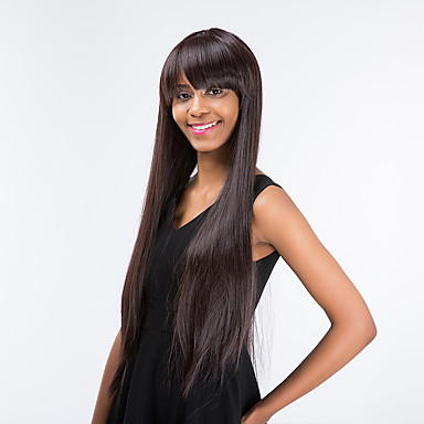 Human Hair Capless Wigs Straight With Bangs Synthetic Hair Side Part Brown Wig Women's Long / Very Long Capless