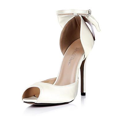 Mulheres Sapatos Seda Verão Conforto Sandálias Salto Agulha Peep Toe Laço Ivory / Casamento / Festas & Noite