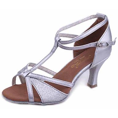 baratos Sapatos de Salsa-Mulheres Sapatos de Dança Couro Sintético Sapatos de Dança Latina / Sapatos de Salsa Presilha Sandália / Salto Salto Personalizado Personalizável Preto / Dourado / Prata / Espetáculo / EU39