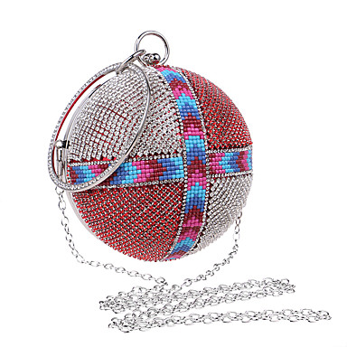 Women's Bags Polyester PU Evening Bag Rhinestone for Wedding Event / Party Formal All Seasons Blue Silver Red