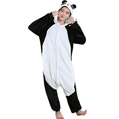 Voksne Kigurumi-pysjamas Panda Onesie-pysjamas Kostume Flanell Fleece Svart Cosplay Til Pysjamas med dyremotiv Tegnefilm Halloween Festival / høytid / Jul