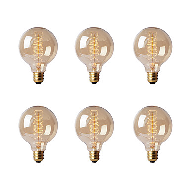Ecolight™ 6pcs 40W E26/E27 G80 2300 K Incandescente Vintage Edison Light Bulb AC 220-240V V