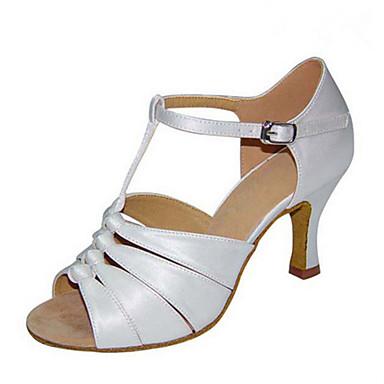 c182aa9b35a Femme Chaussures Latines   Chaussures de Jazz   Chaussures de Salsa Satin  Sandale   Talon Boucle   Volants Talon Personnalisé   Intérieur