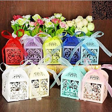 abordables Support de Cadeaux pour Invités-Pyramide Papier nacre Titulaire de Faveur avec Ruban Boîtes à cadeaux Boîtes Cadeaux