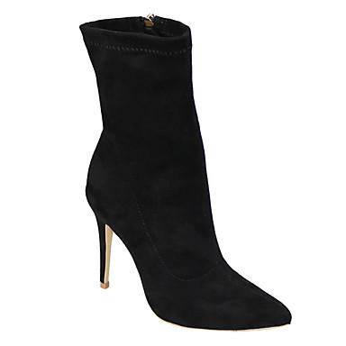 Mulheres Sapatos Tecido Inverno Primavera Sapatos clube Botas da Moda Botas Salto Agulha Dedo Apontado Ziper para Casual Festas & Noite