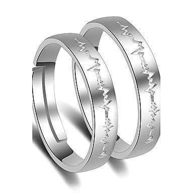 Mulheres Anéis de Casal - Pedaço de Platina Princesa Clássico Ajustável Prata Para Casamento Festa Ocasião Especial
